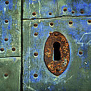 Keyhole On A Blue And Green Door Poster