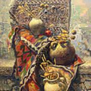Khachkar Cross  Stone Still Life With Jugs Poster