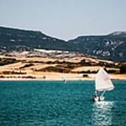 Kid Sailing On A Lake Poster