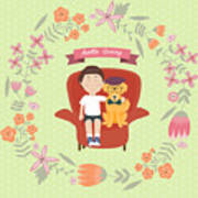 Kid With Golden Retriever Dog On The Poster