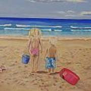 Kids on the beach Poster