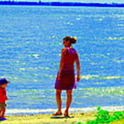 Kids Playing On The Seashore Mom And Little Boys Pointe Claire Montreal Waterscene Carole Spandau Poster