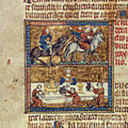 King Riding And At Table Poster