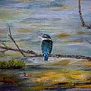 Kingfisher Over Estuary Poster