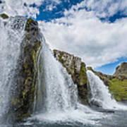 Kirkjufellsfoss Waterfalls, Church Poster
