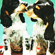 Kiss Me - Cocker Spaniel Art By Sharon Cummings Poster by Sharon Cummings