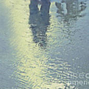 Kissing Couple With Palm Reflection Poster