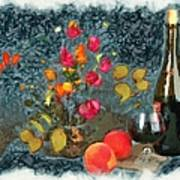 Kitchen - Peaches And Wine Painting  Poster by Liane Wright
