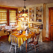 Kitchen - Typical Farm Kitchen  Poster by Mike Savad