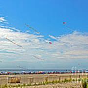 Kites Flying Over The Sand Poster