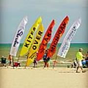 Kites Over Lake Michigan - Two Rivers Wi Poster
