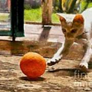 Kitten With Ball Poster