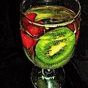 Kiwi And Grapes In  Wine Glass  Poster