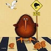 Kiwi Birds Crossing Poster