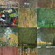 Klimt Landscapes Collage Poster