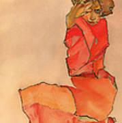 Kneeling Female In Orange-red Dress Poster