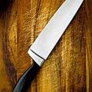 Knife On Chopping Board Poster