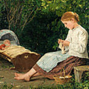 Knitting Girl Watching The Toddler In A Craddle Poster
