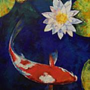 Kohaku Koi And Water Lily Poster