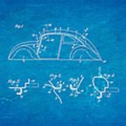 Komenda Vw Beetle Body Design Patent Art 1942 Blueprint Poster