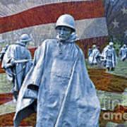 Korean War Veterans Memorial Bronze Sculpture American Flag Poster