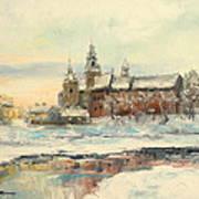 Krakow - Wawel Castle Winter Poster