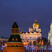 Kremlin Cathedrals At Night - Featured 3 Poster