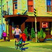 Kusmi Tea And Sandwich Shop St Viateur Corner St Urbain Montreal Summer City Scene  Carole Spandau Poster