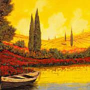 La Barca Al Tramonto Poster