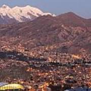La Paz Skyline At Sundown Poster