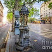 La Rambla Fountain  Poster