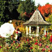 Ladies In Rose Garden Poster