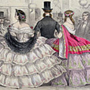 Ladies Wearing Crinolines At The Royal Italian Opera Poster
