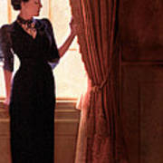 Lady In Black By Window Poster