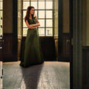 Lady In Green Gown By Window Poster