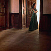 Lady In Green Gown In Doorway Poster by Jill Battaglia