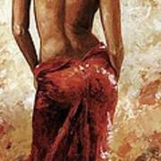 Lady In Red 27 Soft Color Poster by Emerico Imre Toth