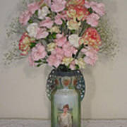 Lady On Vase With Pink Flowers Poster
