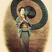 Lady With Umbrella Poster