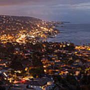 Laguna Beach City At Night Poster