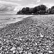Lake Erie Coast Black And White Poster