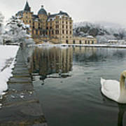 Lake In Front Of A Chateau, Chateau De Poster