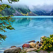 Lake Louise On A Cloudy Day Poster