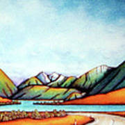 Lake Pearson 1999 Si Nz Poster by Barbara Stirrup