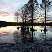 Lake Reflections At Sunset Poster