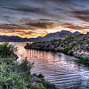 Lake Saguaro Sunset Poster