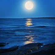 Lake Superior Moonrise Poster