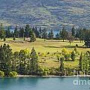 Lake Wakatipu And Queenstown Golf Course Poster