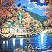Lakeside Cabin Poster