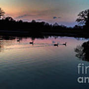 Lakeside Sunset Reflections Poster